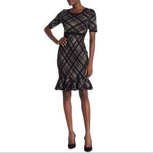 Nina Leonard Plaid Ruffle Hem Sweater Dress XL